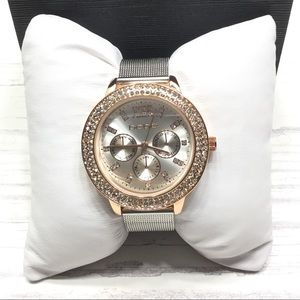 BEBE |Rose Gold & Crystal Watch w/Slvr Mesh Band